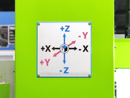 y axis: X Y Z axis arrows Board on Industrial Machine