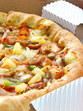 closed up: Closed Up Delicious Supreme Pizza