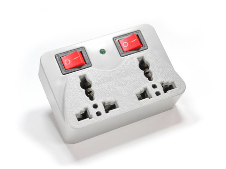 electric socket: Switchable Electric Socket Isolated on White Background