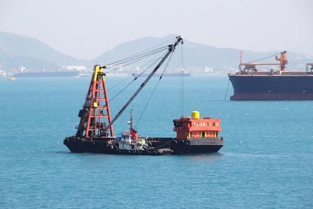 chonburi: Barge Ship, Cargo Ship, Ocean Vessel in the Sea at Ko Sichang Chonburi, Thailand Stock Photo