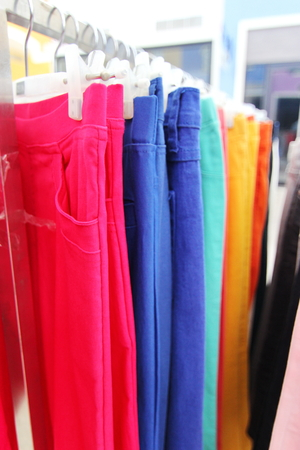trouser legs: Closed Up Hanging Colorful Trousers