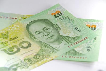 bankroll: Closed up Thai banknote 20 Baht Stock Photo