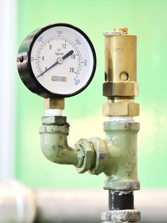 measuring instrument: Pressure measuring instrument - Industrial Pressure Gauge Stock Photo