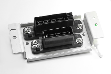 bracket: Electric connector, signal connector with bracket isolated on white background