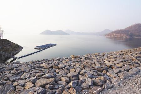 solar farm: Srinagarind dam and a solar farm in the reservoir