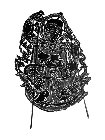 Closed up Thai ancient shadow play - Shadow puppet