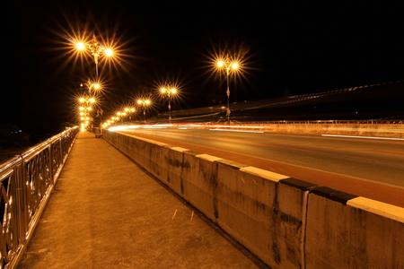 Nightscape of Phaya Mang Rai Bridge in Chiang Rai, Thailand