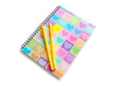 yellow notepad: Love Diary for the concept of Love or Valentines day