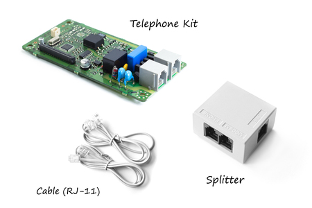 Telephone kit or FAX kit with splitter and telephone cable (RJ-11)