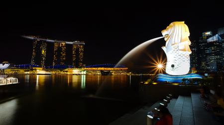 MARINA BAY, SINGAPORE - JAN 20, 2017: Night shot beautiful scenery at Marina Bay, Merlion and Marina Bay Sands.