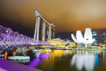 MARINA BAY, SINGAPORE - JAN 20, 2017: Landscape of Felix bridge and Marina Bay Sands in Singapore. Editorial