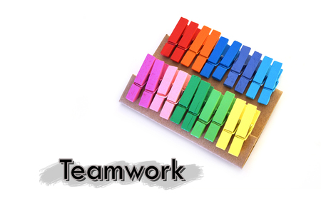 Closed up Colorful cloth clamp in concept of Teamwork