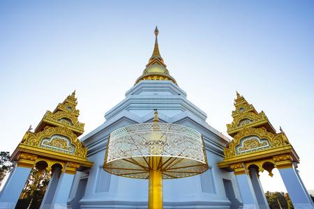 Beautiful pagoda in Wat Phra Thad Santidham temple in Chiang Rai, Thailand.