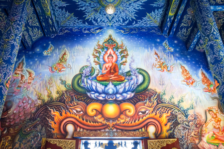 CHIANG RAI, THAILAND - December 20, 2017: Very beautiful buddhist mural painting in the chapel of Wat Rong Sua Ten or Rong Sua Ten temple. This place is the popular attraction for Chiang Rai trip.