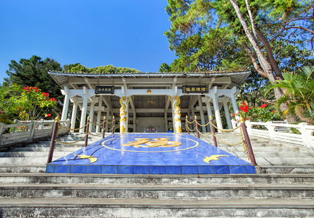 CHIANG RAI, THAILAND - December 21, 2017: General Tuan Shi-wen Tomb Memorial in Doi Mae Salong, Chiang Rai, Thailand. He passed away in 1980 and his tomb sits on the side of a hill high above Doi Mae  에디토리얼
