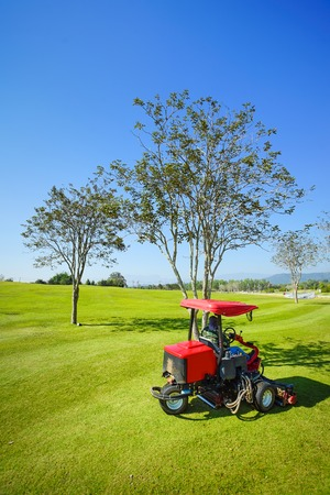 Man working on lawn mower with tree, blue sky background