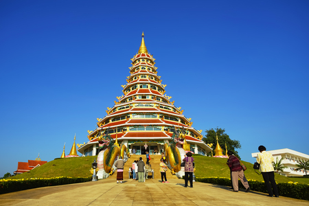CHIANG RAI, THAILAND - DECEMBER 24 2017 : Chinese style pagoda in Wat Huay pla kang temple in Chiang rai province, Thailand province, Thailand