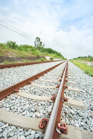 Along the railway in line of sight in Chonburi province, Thailand 免版税图像