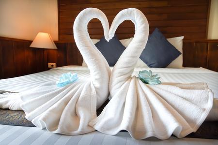 Love concept honeymoon bed for home or hotel bedroom decoration Banco de Imagens