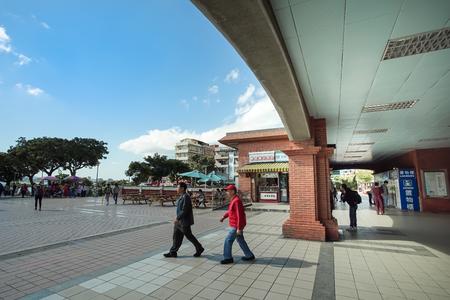 New Taipei, Taiwan - November 24, 2018: Taiwanese traditional architecture at Tamsui MRT station, New Taipei, Taiwan. 新聞圖片