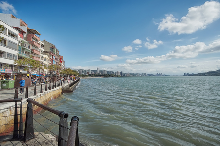 New Taipei, Taiwan - November 24, 2018: Tamsui old street is close to the waterfront in Tamsui district, New Taipei, Taiwan.