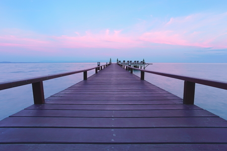 Beautiful jetty walkway on the sea in twilight time, Koh Chang, Trad province, Thailand. 写真素材