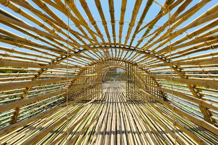 Bamboo tunnel in Handcraft Baan Ton Tan, Song Phi Nong District, Suphanburi Province, Thailand.