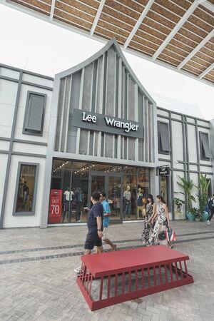Samut Prakan, Thailand - September 06, 2019 : Lee and Wrangler store in the new one shopping mall named Central Village.