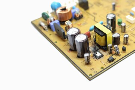 Closed up shot of Broken, damaged integrated circuit on printed circuit board. Banco de Imagens - 145565276