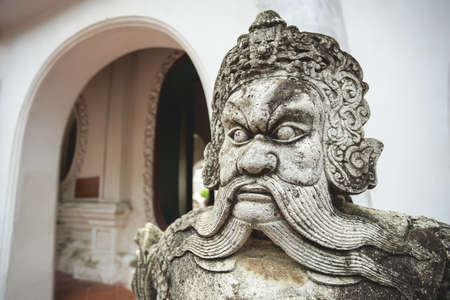 Chinese ancient warrior sculpture in Wat Phra Pathomchedi, Nakhon Pathom Province, Thailand. Banco de Imagens