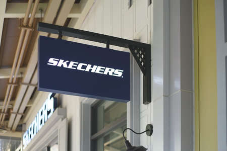 Samut Prakan, Thailand - June 13, 2020: Logo of Skechers in Central Village, Samut Prakan, Thailand. An American lifestyle and footwear company, founded in 1992.