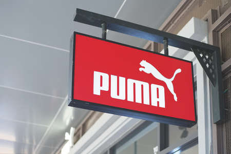 Samut Prakan, Thailand - June 13, 2020: Logo of Puma in Central Village, Samut Prakan, Thailand. The German multinational corporation that designs and manufactures athletic and casual footwear, Editorial