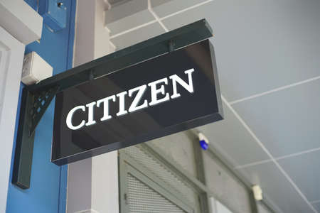 Samut Prakan, Thailand - June 13, 2020: Logo of Citizen watch in Central Village, Samut Prakan, Thailand. The Japanese brand and manufacturing watch, small electronics such as calculator. Editorial
