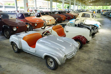 Nakhon Pathom, Thailand - August 27, 2020 : Classic cars in Jesada Technik Museum, Nakhon Pathom, Thailand. A lot of inported classic cars are collected in this museum and free entrance for all of tourists. Editorial