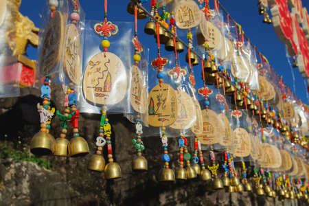 Maehongson, Thailand - December 13, 2020: Beautiful Bells and Tags in Santichon Village a small Chinese Yunnan in Pai, Maehongson.