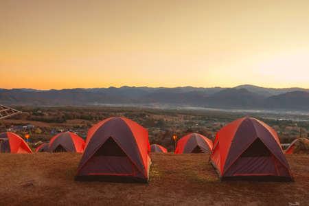 Sunrise and camping at Lai Viewpoint in Pai district, Mae Hong Son province, Thailand.