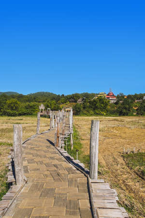 Zutongpae Bridge is the The famous bamboo bridge in Mae Hong Son province, Thailand.