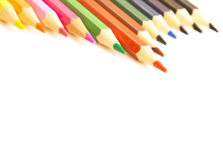 Wooden colorful pencil set for drawing. The objects are isolated and a clipping path is provided for easy extraction.