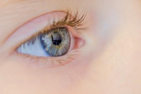 Macro shot of the young girl eye