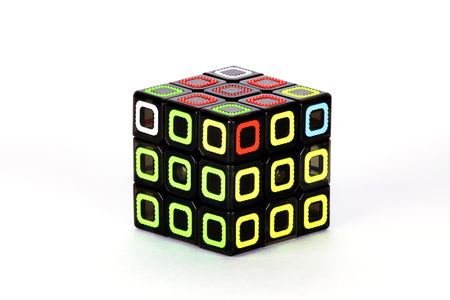 The cube on the white background. The solution sequence stage eight. The object is isolated on white and a clipping path is provided for easy extraction.