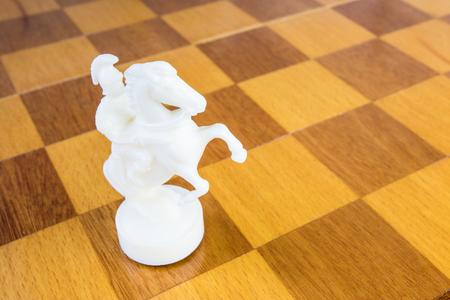 The isolated white chess knight of stone or plastic on the square wood board
