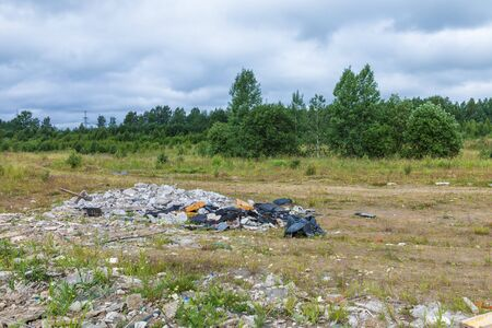 Unauthorized dump of garbage among Stock Photo