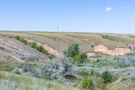 Russian steppe or prairie with ravines