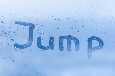 Inscription jump on window glass