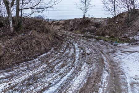 Suburb winter road or way with ice
