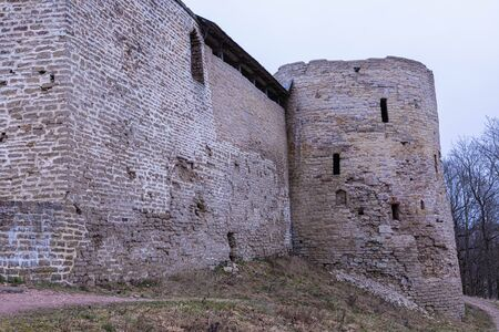 The ruines of old ancient medieval fortress Stock Photo