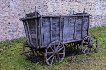 The broken ancient cart or wagon