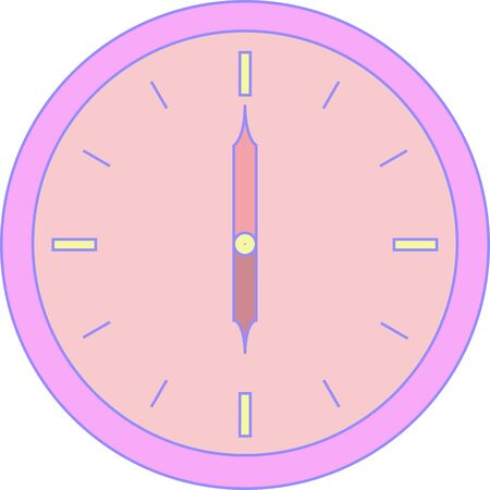 Round clock of alarm with purple corpus and rose face 向量圖像