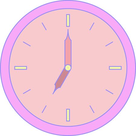 Round clock of alarm with purple corpus and rose face Illustration