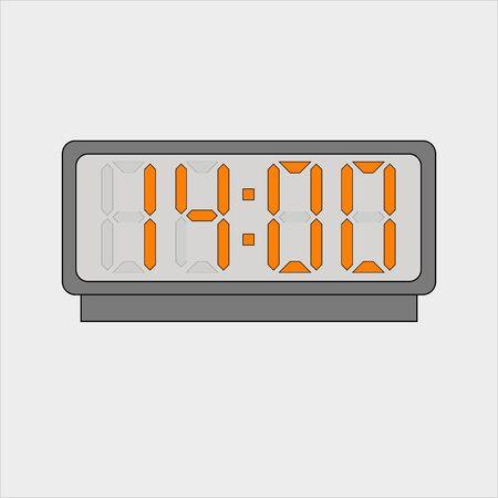 Electronic or digital alarm. Fourteen hours o'clock 矢量图片